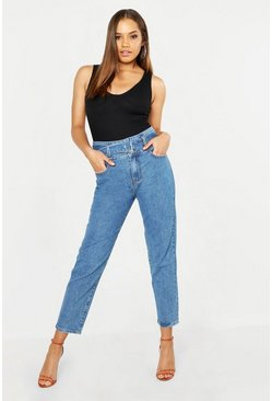 Belted High Waisted Mom Jeans, Mid blue, Donna