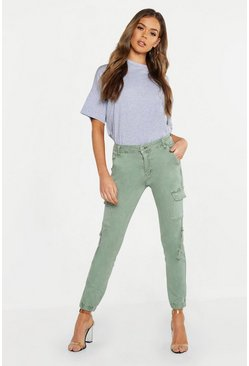 Womens Khaki Denim Cargo High Waist Trouser