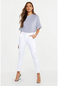 Womens White Denim Cargo High Waist Trouser