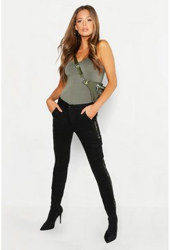 Womens Black Camo Contrast Cargo Denim Joggers