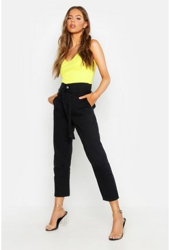 Womens Black High Waisted Paperbag Boyfriend Jeans