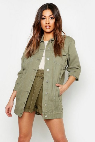 Womens Khaki Longline Distressed Denim Jacket