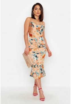Womens Gold Satin Floral Cowl Flute Hem Slip Dress