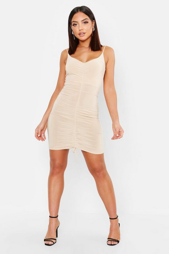 Womens Stone Ruched Strappy Mini Dress