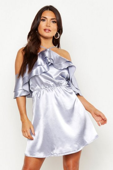 Halterneck Ruffle Satin Skater Dress