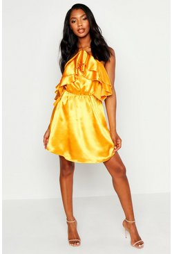 Yellow Halterneck Ruffle Satin Skater Dress