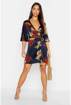 Womens Navy Satin Floral Satin Wrap Dress