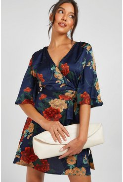 Navy Satin Floral Satin Wrap Dress