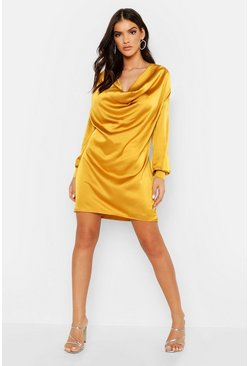 Deep Cowl Satin Shift Dress, Chartreuse