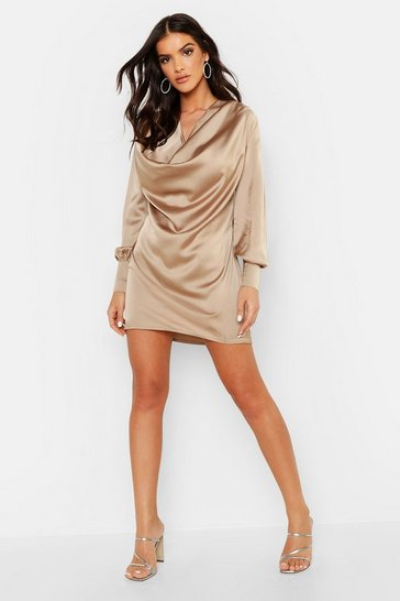 Womens Taupe Deep Cowl Satin Shift Dress