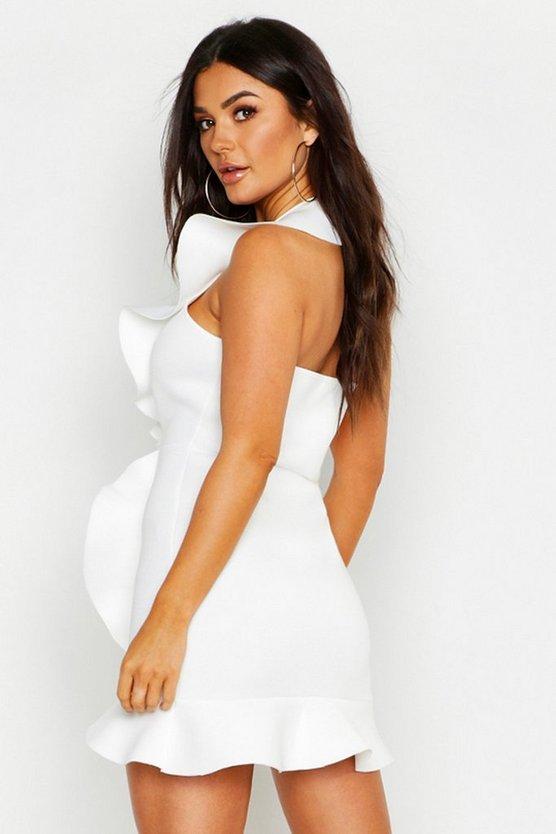 Halter Ruffle Premium Scuba Mini Dress