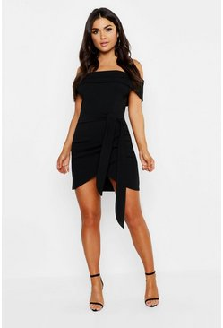 Womens Black Off The Shoulder Wrap Detail Bodycon Dress