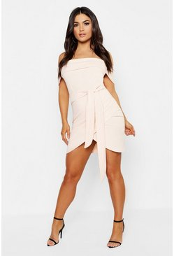 Womens Blush Off The Shoulder Wrap Detail Bodycon Dress
