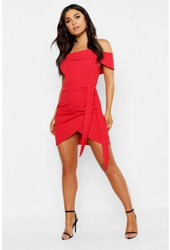 Womens Red Off The Shoulder Wrap Detail Bodycon Dress