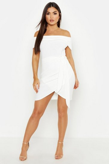 Womens White Off The Shoulder Wrap Detail Bodycon Dress