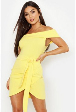 Womens Yellow Off The Shoulder Wrap Detail Bodycon Dress