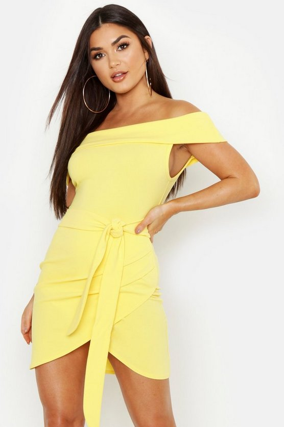 Off The Shoulder Wrap Detail Bodycon Dress