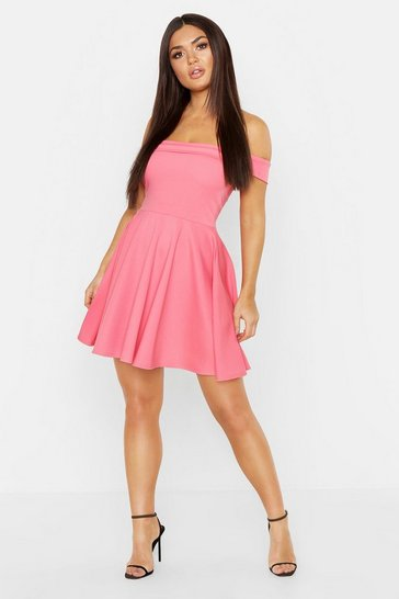 Womens Coral Off The Shoulder Skater Dress