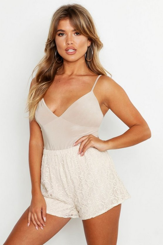 Lace Woven Shorts, Cream, Donna