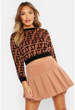 Womens Camel Pleated Skort