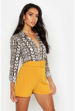 Mustard Belted Tailored Shorts