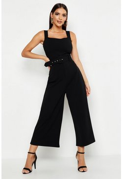Black Pinafore Belted Buckle Culotte Jumpsuit