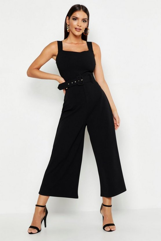 Womens Black Pinafore Belted Buckle Culotte Jumpsuit