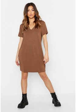 Womens Chocolate V Neck Slouchy T-Shirt Dress