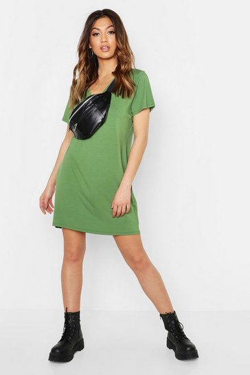 Womens Khaki V Neck Slouchy T-Shirt Dress
