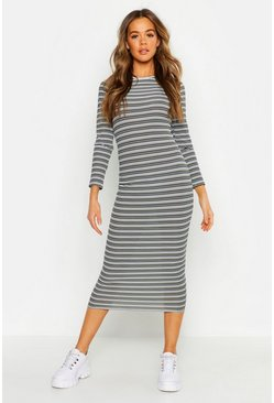 Womens Khaki Stripe Ribbed Long Sleeve Midaxi Dress