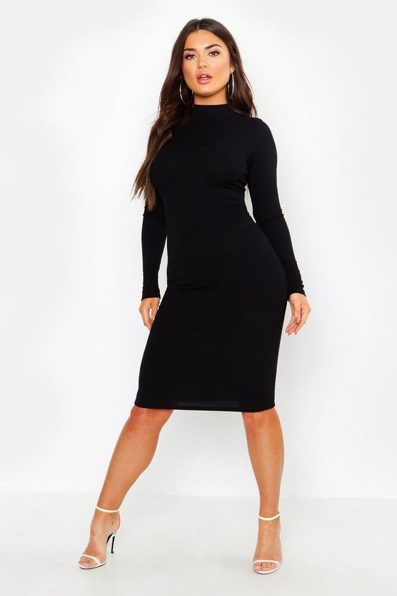 Womens Black Turtle Neck Midi Dress
