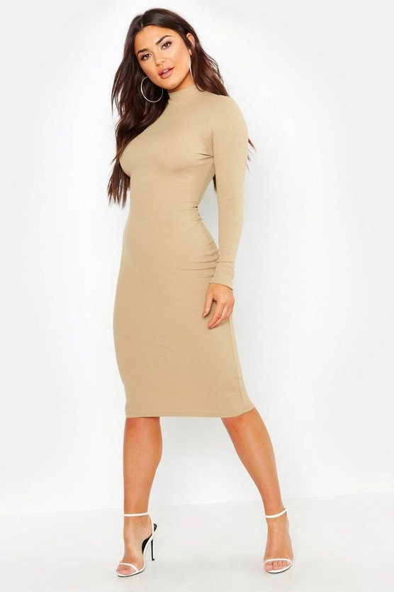 Womens Stone Turtle Neck Midi Dress