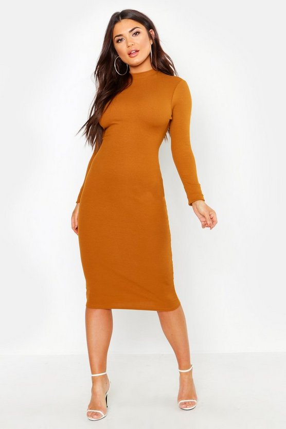 Womens Tobacco Turtle Neck Midi Dress