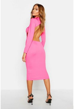 Womens Neon-pink Neon High Neck Cut Out Midi Dress