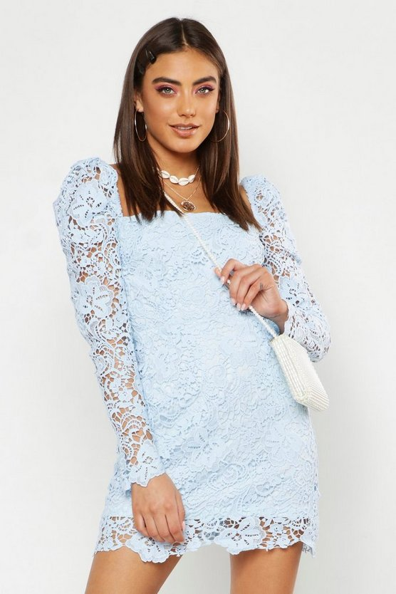 Sky Corded Lace Square Neck Dress