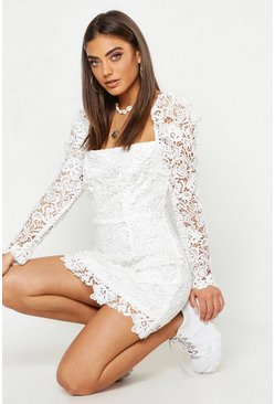 Womens White Corded Lace Square Neck Dress