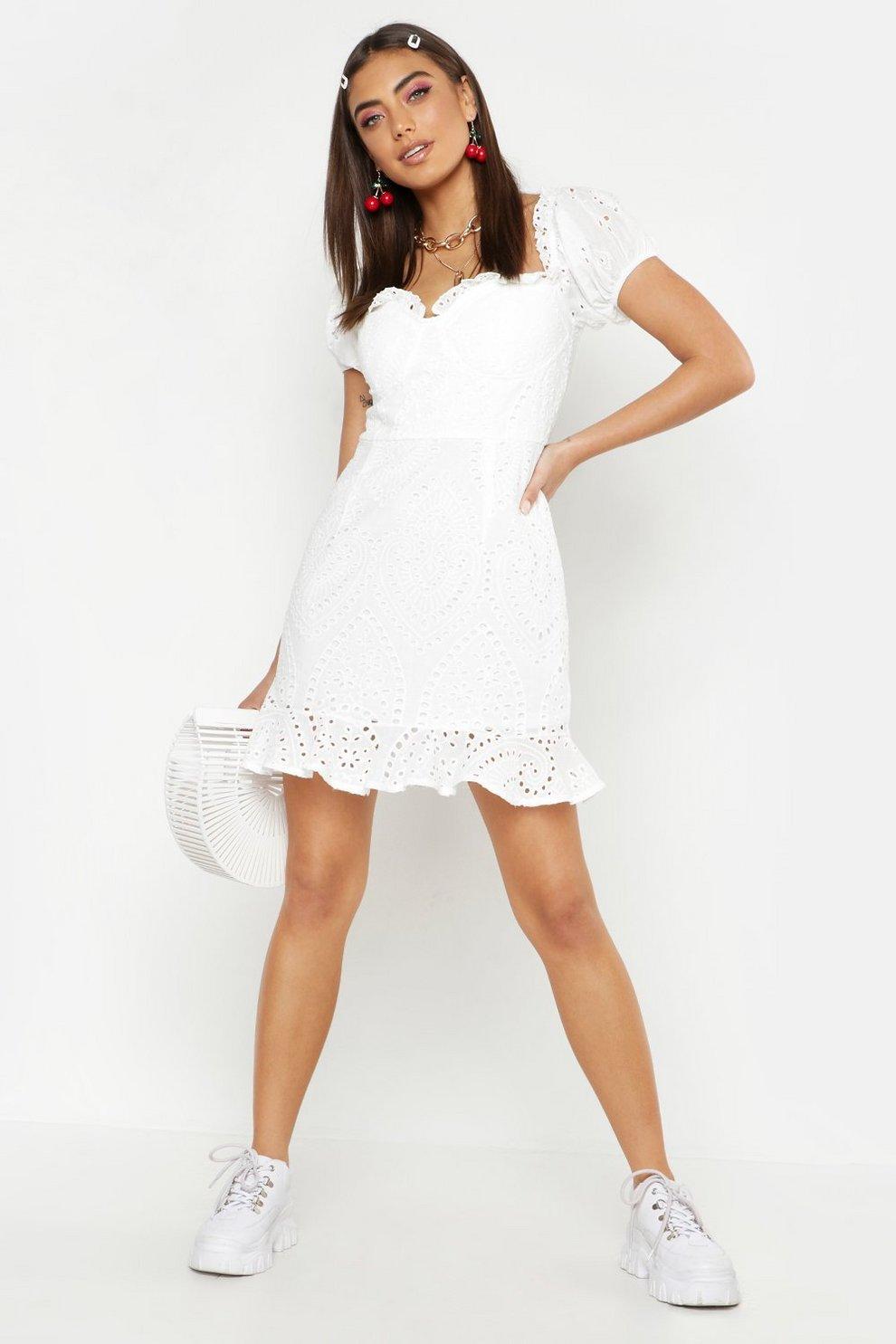 3f83d4b4d5c3 Broderie Anglaise Ruffle Mini Dress   Boohoo