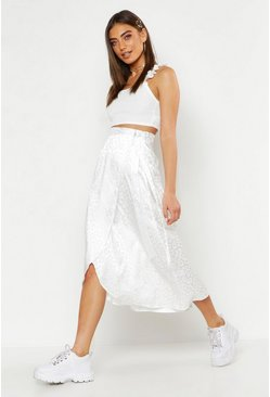 Womens White Leopard Satin Wrap Midi Skirt