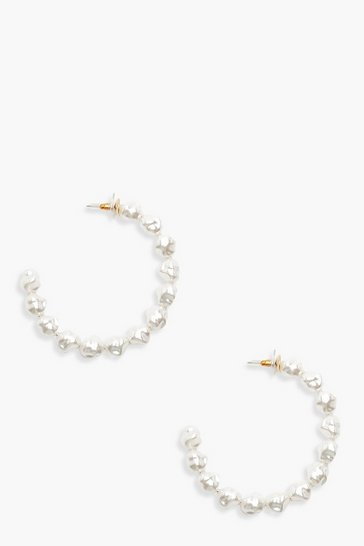 Womens Multi Hammered Pearl Hoop Earrings