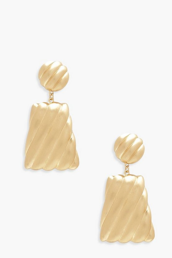 Womens Gold Brushed Trapezium Statement Earrings