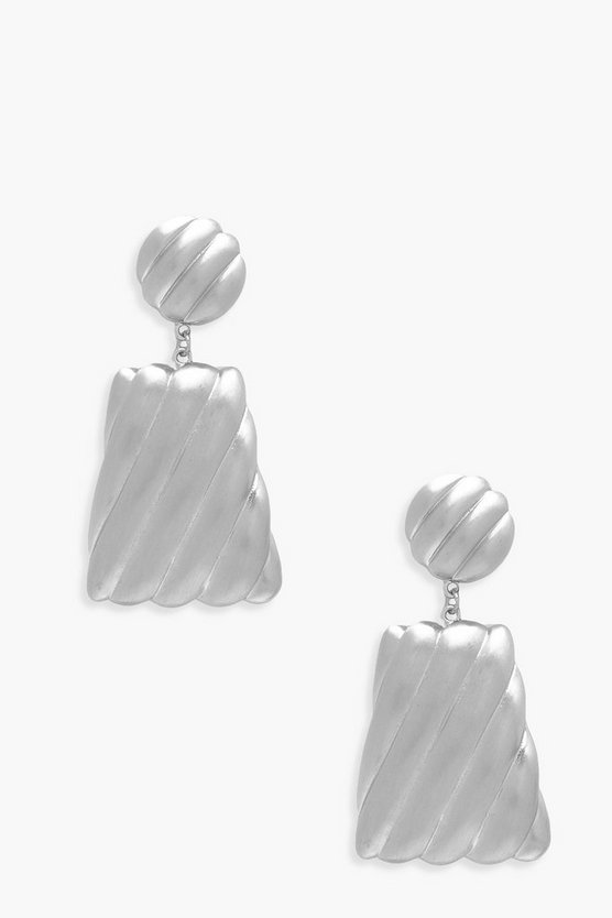 Womens Silver Brushed Trapezium Statement Earrings
