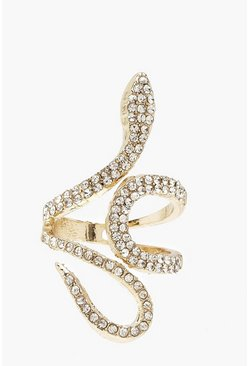 Womens Gold Diamante Statement Ring