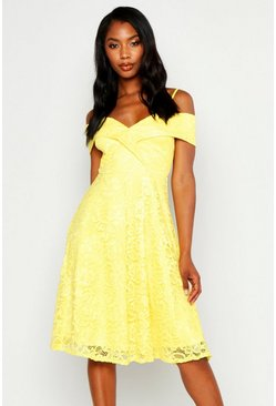 Womens Yellow Lace Cold Shoulder Midi Skater Dress