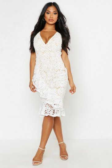 Womens Ivory Lace Ruffle Hem Midi Dress