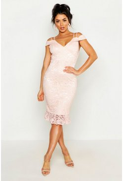 Womens Blush Lace Cold Shoulder Ruffle Hem Midi Dress
