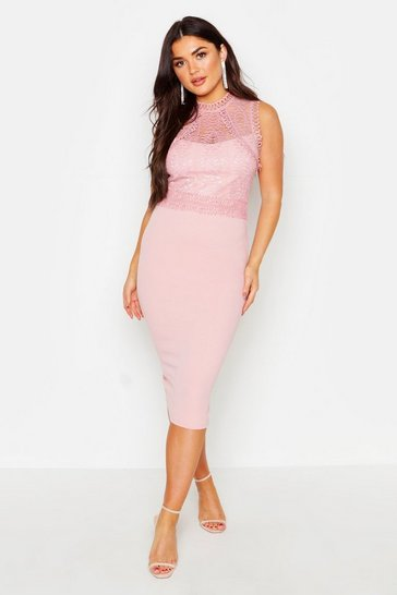 Blush Lace Panelled Detail Midi Dress
