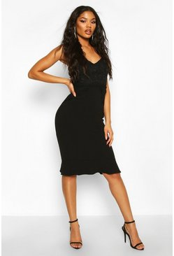 Womens Black Lace Panel Ruffle Hem Midi Dress