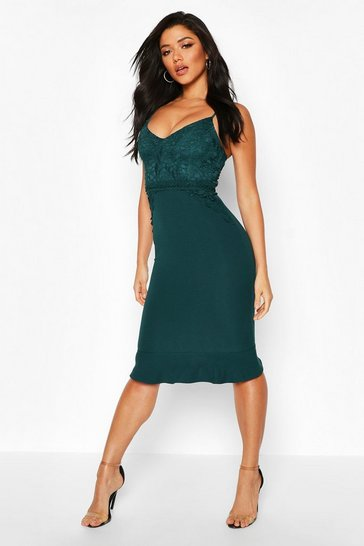 Womens Emerald Lace Panel Ruffle Hem Midi Dress
