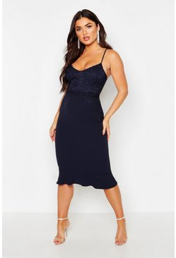 Navy Lace Panel Ruffle Hem Midi Dress