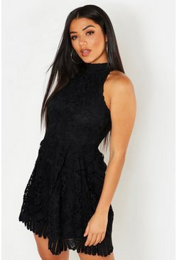 Womens Black Lace High Neck Skater Dress